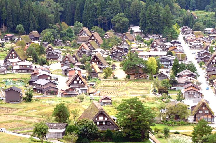 Gassho style houses (Gassho zukuri) of Shirakawa-go Gifu, Japan.