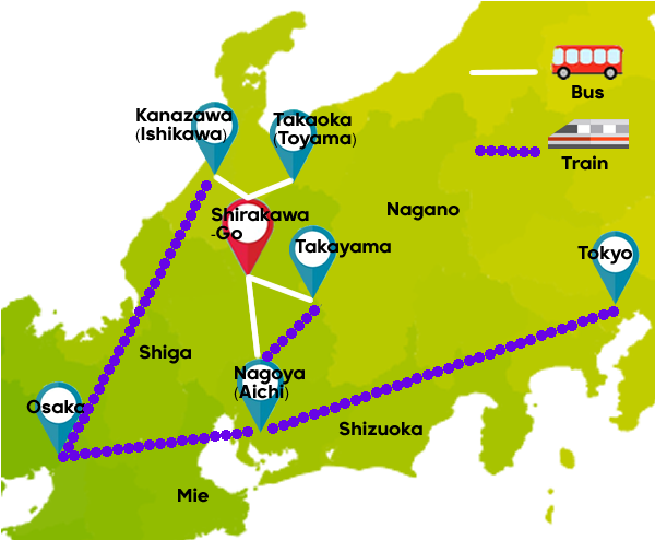 Directions to Shirakawa-go, Gifu, Japan
